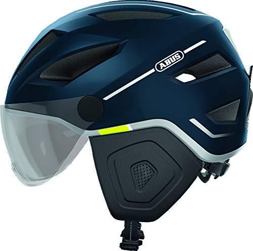 ABUS Pedelec 2.0 ACE Stadthelm - Hochwertiger E-Bike Helm mit Rücklicht und Visier für den Stadtverkehr - für Damen und Herren - 81927 - Blau, Größe M