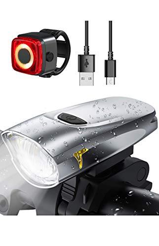 LIFEBEE USB Aufladbar Fahrradlicht Set, CREE LED Fahrradbeleuchtung Klein Hell Fahrradlampe Vorne/Hinten für Kinder Erwachsene