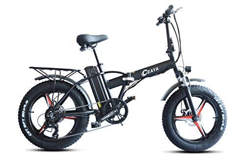 Ceaya Elektro-Mountainbike 500W 20' Fettreifen Elektrisch klappbares Strand-Snowbike für Erwachsene, Elektroroller 7-Gang-E-Bike mit Abnehmbarer 48V15AH-Lithiumbatterie