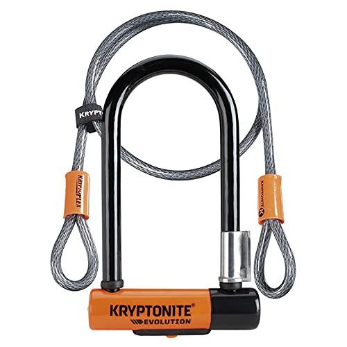 Kryptonite Evolution Mini-7 mit KFlex (120cm) Fahrradschloss, Orange, 120 cm