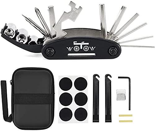 WOTOW Fahrrad Werkzeugset, 16-in-1-Multifunktions-Reparatursatz für die Fahrrad-Reparatur, Kit mit Innensechskantschlüsseln und 3 Stemmeisen (16 in 1 Werkzeug)
