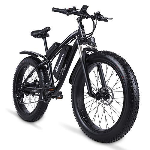 Sheng Milo MX02S Elektrofahrrad 48V Beachbike Cross-Country-Kreuzfahrtschiff 26 Zoll Erwachsenen-Snowbike 1000W austauschbare Batterie 17Ah, 21-Gang-Elektrofahrrad, 4,0 fette Reifen