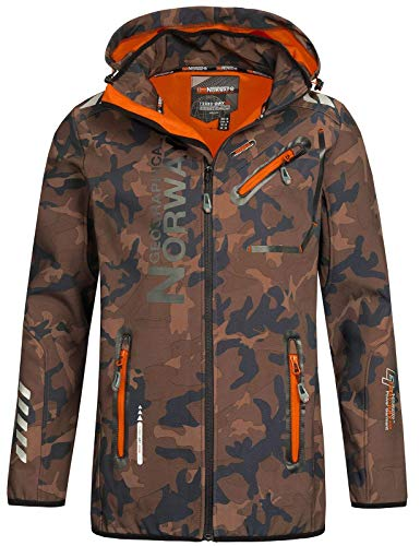 Geographical Norway Herren Softshell Outdoor Jacke Rainman Turbo-Dry Kapuze (S, Khaki/Orange)
