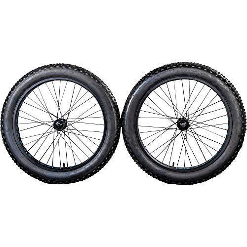 Galano Laufrad Fatbike 26 Zoll Fatman 4.0 Komplettrad Set MTB Stollenprofil Fatty Fat Tyre 4' (blau, hinten)