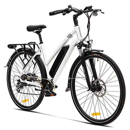 Elektrofahrrad E Bike VecoCraft Athena E-Bike Trekking Pedelec für Damen Herren, 28Zoll Urban Citybike, mit 36V 250W 13Ah Samsung Akku 25km/h 100km, Shimano 8-Gang Electric Bike, Weiss