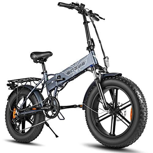 ENGWE Elektro-Mountainbike 500W 20' Fettreifen Elektrisch klappbares Strand-Snowbike für Erwachsene, Aluminium-Elektroroller 7-Gang-E-Bike mit Abnehmbarer 48V12,5A-Lithiumbatterie (grau)