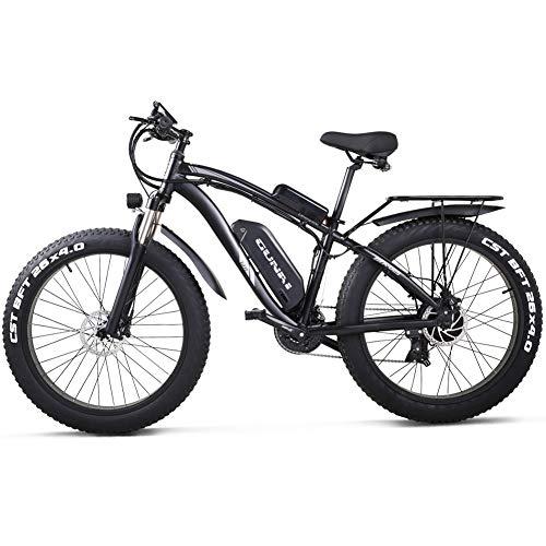 GUNAI 26 Zoll Fat Tire Elektrofahrrad 1000W 48V 17AH Beach Cruiser Pedal Assist Mountain E-Bike mit Rücksitz (Schwarz)