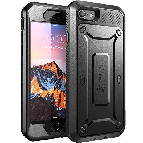 SUPCASE iPhone SE (4,7') 2020 Hülle iPhone 7 Case iPhone 8 Handyhülle [Unicorn Beetle PRO] Outdoor Schutzhülle Stoßfest Cover mit eingebautem Displayschutz und Gürtelclip, Schwarz