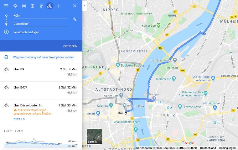 Google Maps als Fahrrad Navi App